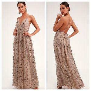 Lulu's Luminous Night Glitter Sequin Maxi Dress